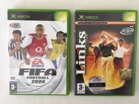 """XBOX ORIGINAL GAMES """"FIFA 2004"""" and """"LINKS 2004"""" with MANUALS"""