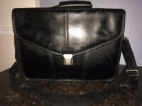 High quality black leather laptop bag - not used
