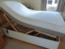 Superking adjustable electric bed headboard in pine and superking mattress