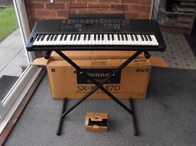 TECHNICS SX-KN470 ELECTRONIC KEYBOARD - Boxed & complete with POWER SOCKET, & KEYBOARD STAND