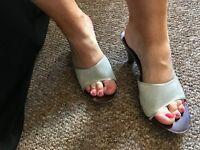 Silver wooden heels