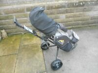 Golf clubs for sale with trolley and Powakaddy cart bag, irons are Acer XFs with Cobra Putter