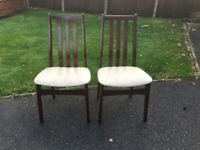 2 Dark Wood High Spindle Back Dining Chairs Cream Faux Leather Seat Base Pad