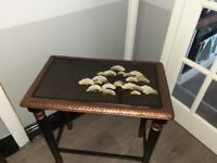 black & copper oriental style bedside or console table