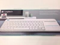 ( New and Sealed ) Logitech K400 Plus Wireless Touch Keyboard - QWERTY, UK Layout, White