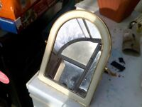 NICE VINTAGE MIRROR SWIVEL TYPE WITH BRASS EDGING 8X6 INCHES