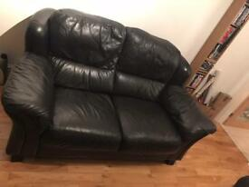 2 Seater leather Sofa and two matching Armchairs