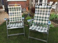 For sale, 2 very light weight comfortable chairs with foot stools
