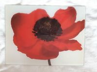 Worktop Saver, Chopping Board, 40cm x 30cm, Glass, Poppy