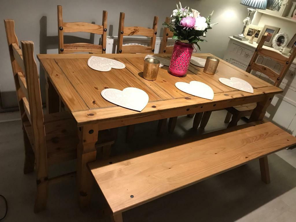 Large Farmhouse Rustic Dining Table 5 Chairs And Bench 8 Seater