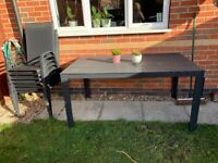 Garden table plus 6x chairs