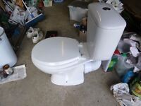 Toilet and cistern + Small hand basin (For downstairs cloakroom ) with mixer tap