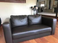 BROWN (faux) LEATHER SOFA