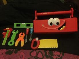 Kids tool kit and tool box.