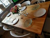 Shabby chic large solid pine table and chairs
