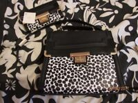 BLACK AND WHITE ANIMAL PRINT HANDBAG AND MATCHING PURSE FROM NEW LOOK BRAND NEW WITH TAGS