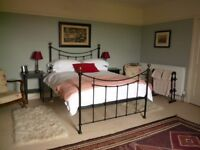 Black metal frame double bed with brass finials and wooden sprung slats.