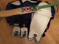 Cricket bat, pads, gloves and bag
