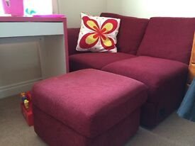 Red material storage footstool