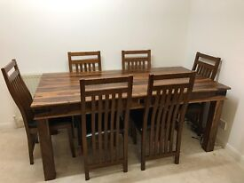 Solid Wood Dining Table Mumbai Sheesham Style w/ 6 Chairs