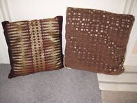 Two Brown Patterned Cushions