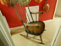 spindle back antique wooden rocking chair