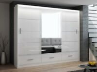 **CHEAPEST PRICE EVER** BRAND NEW 3 OR 2 DOOR MARSYLIA SLIDING WARDROBE WITH FREE LED + DRAWERS