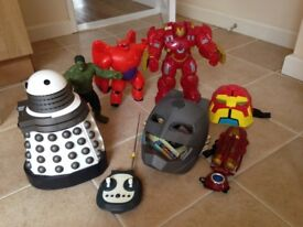 Selection of Large Boys Action Figures - Batman, Dr Who, Big Hero, Hulk
