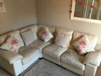 DFS Leather Corner Sofa Cream 'Linea'