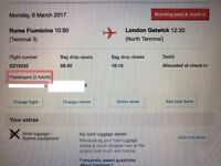 Rome to Gatwick 2 tickets