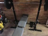 York fitness bench, barbell and frame