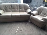 Leather three piece suite plus one chair