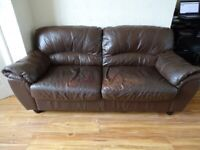 FREE 3 Seater + 2 Seater Brown Real Leather Couch / Sofa Set - Pick Up Only Liverpool.