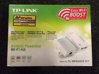 ( New ) TP-LINK TL-WPA4220KIT, AV600 Poweline Adaptor, 300M Wi-Fi Extender / Booster with 2 Ports