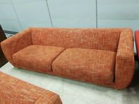 Large Orange Fabric 3 & 1 Sofa