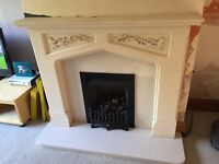 Fire surround, hearth and matching backing