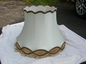 Large lamp shade for a standard lamp in ivory silk. Width 64cm x height 48cm