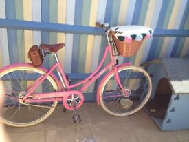 Pink Pashley bicycle hybrid town bike WITH rack, light & basket