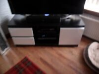 BLACK/WHITE MODERN TV UNIT...LIKE NEW WITH MATCHING SIDEBOARD.
