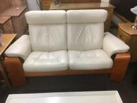 Cream leather Stressless sofa * free furniture delivery*