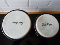 Gon Bops Fiesta Series Bongos (Drums) 7 & 8.5 Inches - Red with Black Hardware