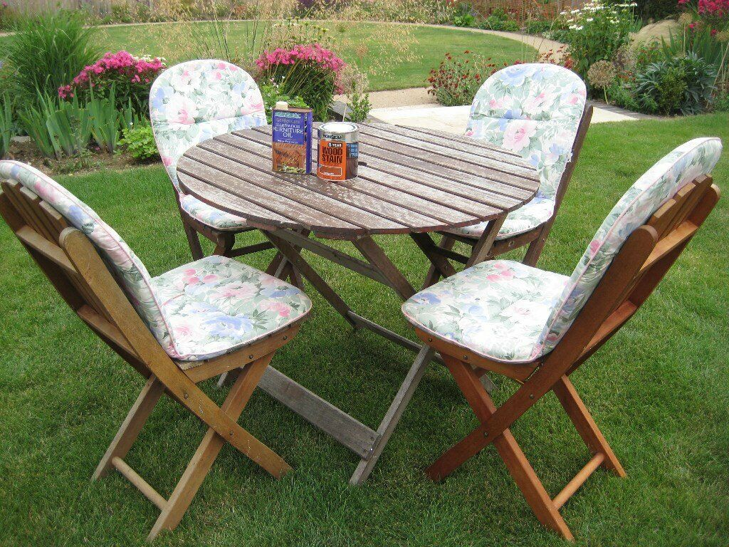 Tremendous Wooden Patio Table 4 Folding Chairs Plus Cushions And Teak Oil In Diss Norfolk Gumtree Best Image Libraries Weasiibadanjobscom
