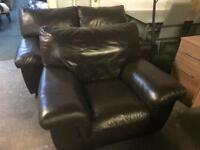 As new 3 2 1 brown leather sofa set