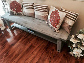 **Beautiful NEW Farmhouse Style Rustic Bench Grey**