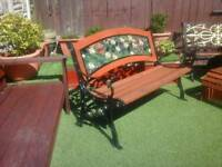 Very heavy vintage cast iron garden bench