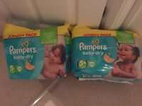 Pampers nappies size 5&5+