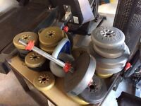 Mixed York Barbell Weight Plates, Weider Olympic Plates and 3 weightlifting bars
