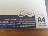Brand new A4 clear plastic binding covers by Impega - 100 count