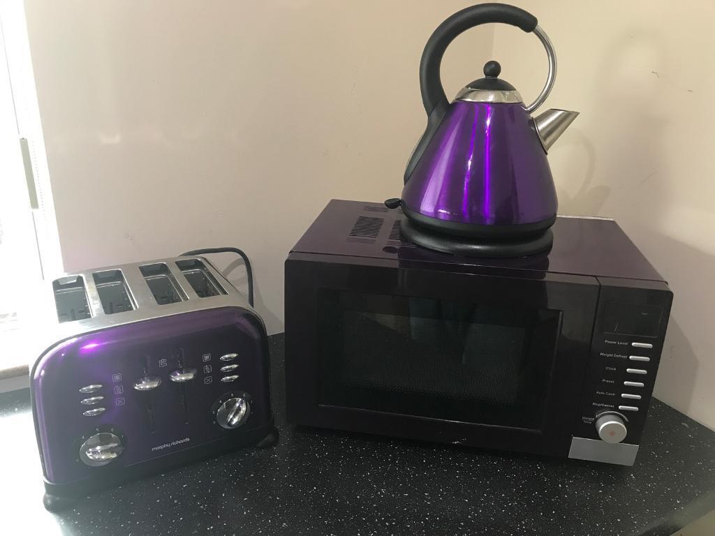 Purple Microwave Kettle And Toaster Set