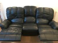 3 seater and 2 seater reclining black leather sofa's